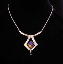 Vintage Sterling modernist necklace - silver stone mosaic - Tiger eye Lapis mult - $225.00
