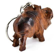 Hand Carved Ironwood Wood Folk Art 3D Buffalo Country Western Theme Keychain image 5
