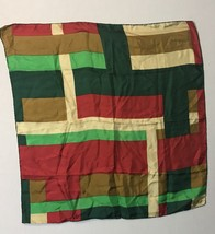 """echo silk scarf 26"""" square green red gold Hand Rolled Hem - $14.80"""
