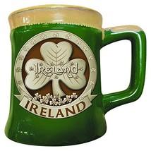 Irish Designed Pottery Mug With A Shamrock Design, Green Colour - $14.80