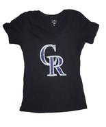 Colorado Rockies Mujer Camiseta con Cuello en V, Negro, LARGA - $11.90