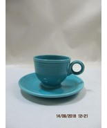vintage Fiestaware ring handle cup & saucer set turquoise - $12.86