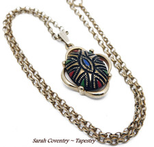 Vintage Sarah Coventry Pendant TAPESTRY From 1973 Adjustable Length Gold... - $9.95