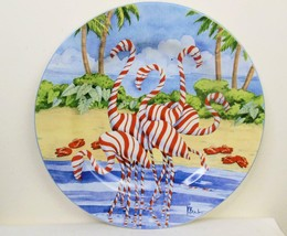 Peppermint Stripe Flamingo Sakura Costal Christmas Dessert Plate 8.25 Inch - $11.88