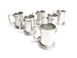 Vintage set of 6 mid century aluminum metal beer tankard steins with cle... - $68.00