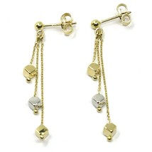 18K YELLOW WHITE GOLD PENDANT EARRINGS, THREE WIRES, SMALL CUBES, 4 cm  image 1