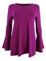 Alfani Casual Long Bell Sleeve Tunic Pullover Sweater Top, Magenta Purple - $29.00