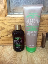 Set of 2 Bath & Body Works ALMOND VANILLA Olive Oil Body Cream 8 oz Oil ... - $24.98
