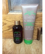 Set of 2 Bath & Body Works ALMOND VANILLA Olive Oil Body Cream 8 oz Oil ... - $24.98