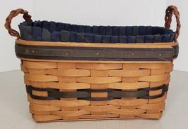Longaberger Collectors Club 9x5 Oblong Wood Bread Basket Navy Blue 1998 ... - $24.75