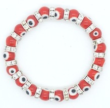 6mm-10mm Evil Eye Red Glass Beads Stretch Bracelet Hamsa Lampwork Nazar ... - $4.99+