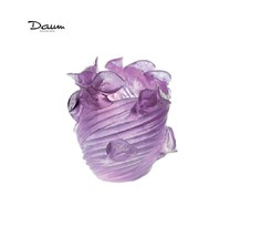 Daum Small Ultraviolet Vase Arum 03839 France Crystal New Box Numbered Edition - $2,297.35