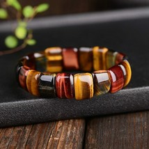 BOEYCJR Colorful Tiger Eyes Natural Stone Beads Bangles & Bracelets Hand... - $8.64