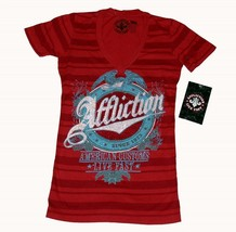 Affliction Cascade Red Striped Rhinestones Script S/S V-Neck Top WMS X-S... - $39.99