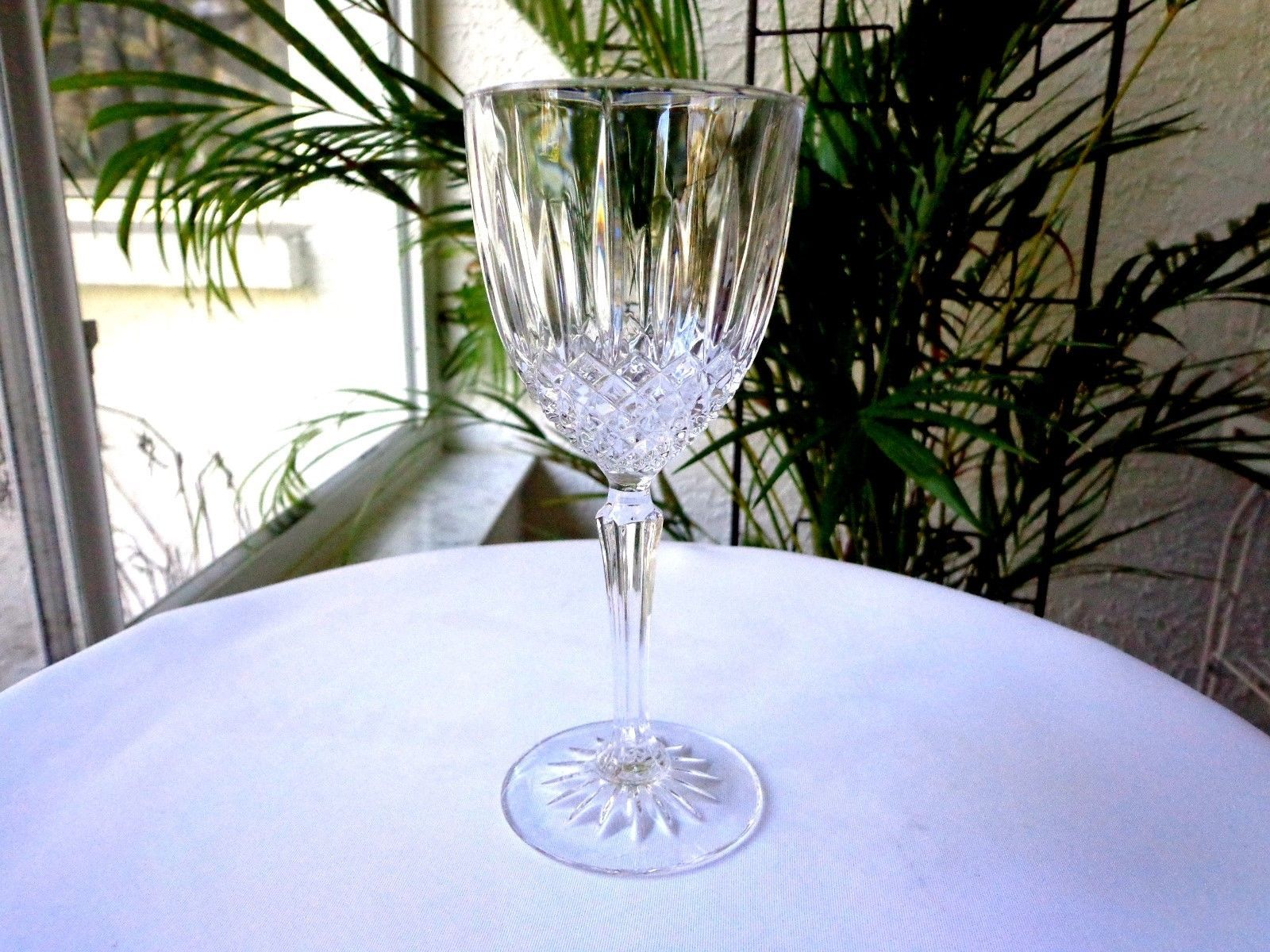 Primary image for Set of 2 Cris D' Arques Constance Pattern Clear Crystal Wine Goblets