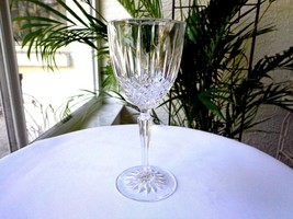 Set of 2 Cris D' Arques Constance Pattern Clear Crystal Wine Goblets - $24.74