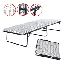 Eight24hours Folding Metal Guest Bed Spring Steel Frame Mattress Cot Sle... - $132.00