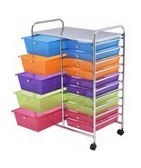 Rolling Colorful Storage Cart 15 Drawers Organize Shelf Office School Do... - $89.09