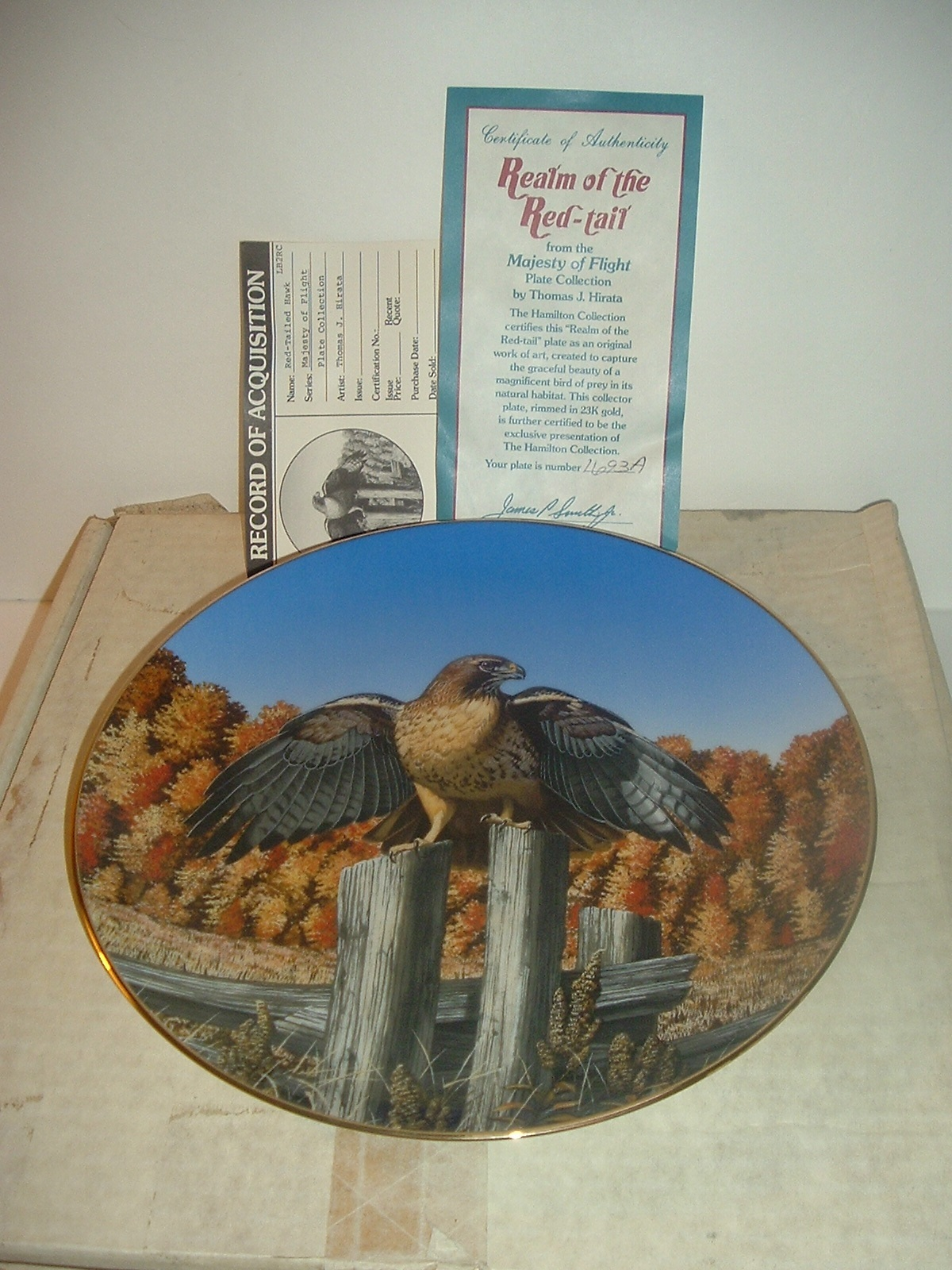1988 Hamilton Collection Realm of the Red Tail Hawk Plate w/ COA and Box