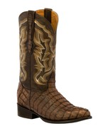 Mens Brown Western Boots Crocodile Tail Skin Genuine Leather Cowboy J Toe - €236,23 EUR