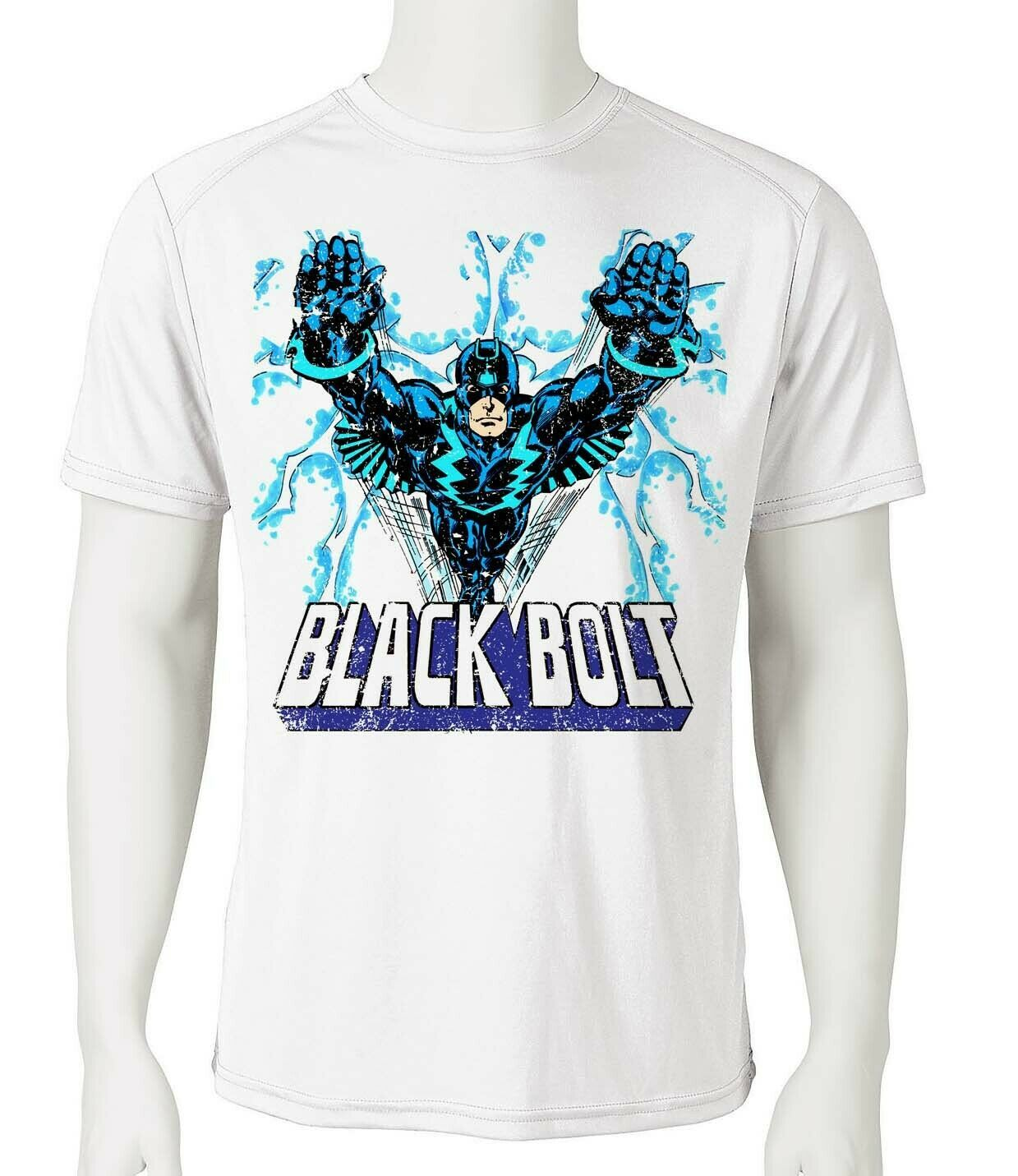 Black bolt dri fit graphic t shirt moisture wicking retro superhero spf tee 2