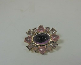 Gold Tone Purple, Pink, & Lavender Pin Brooch - $8.90