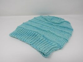 Handcrafted Knitted Hat Beanie Light Teal Textured Merino Cashmere Femal... - $44.18