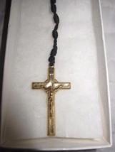 Vintage Black Handmade Knotted Twine Rosary w/ Metal Crucifix Jesus - $9.46
