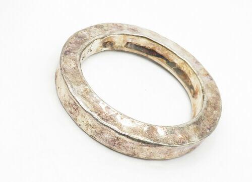 BAT-AMI ISRAEL 925 Silver - Vintage Hollow Hammered Bangle Bracelet - B6276 image 3