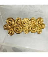 Gold Swirls Plated Hair Barrette Secure Spring Clip 3 inch Wide X 2 Inch - $13.86