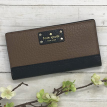 NEW Kate Spade Bay Street Stacy Brown Black Bifold Leather Wallet #wlru2642 - $59.00