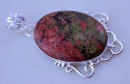 Unakite Stone Silver Overlay Handmade Pendant Jewellery-P-121-3_1 - $4.49
