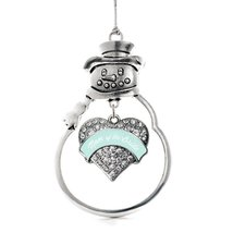 Inspired Silver Mint Mom of Bride Pave Heart Snowman Holiday Decoration Christma - $14.69