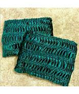 Set Pair Emerald Green Velvet Velour Pintuck Pleated Gathered Pillows Ho... - $49.49