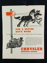 Chrysler Industrial Engines Magazine Ad 10.75 x 13.75 Young & Rubicam - $9.89