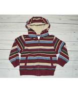 Toddler Boys 4T 5T GYBMOREE Zip Up Hoodie Sweatshirt Burgundy Stripe Sherpa Hood - $9.99