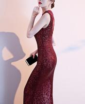Burgundy Sequin Maxi Formal Dress High Waist V Neck Sequin Dress Wedding Gowns image 4