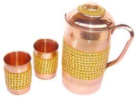 Rastogi Handicrafts Pure Copper Golden Crystal Studded Jug & 2 Glass Set - $49.01