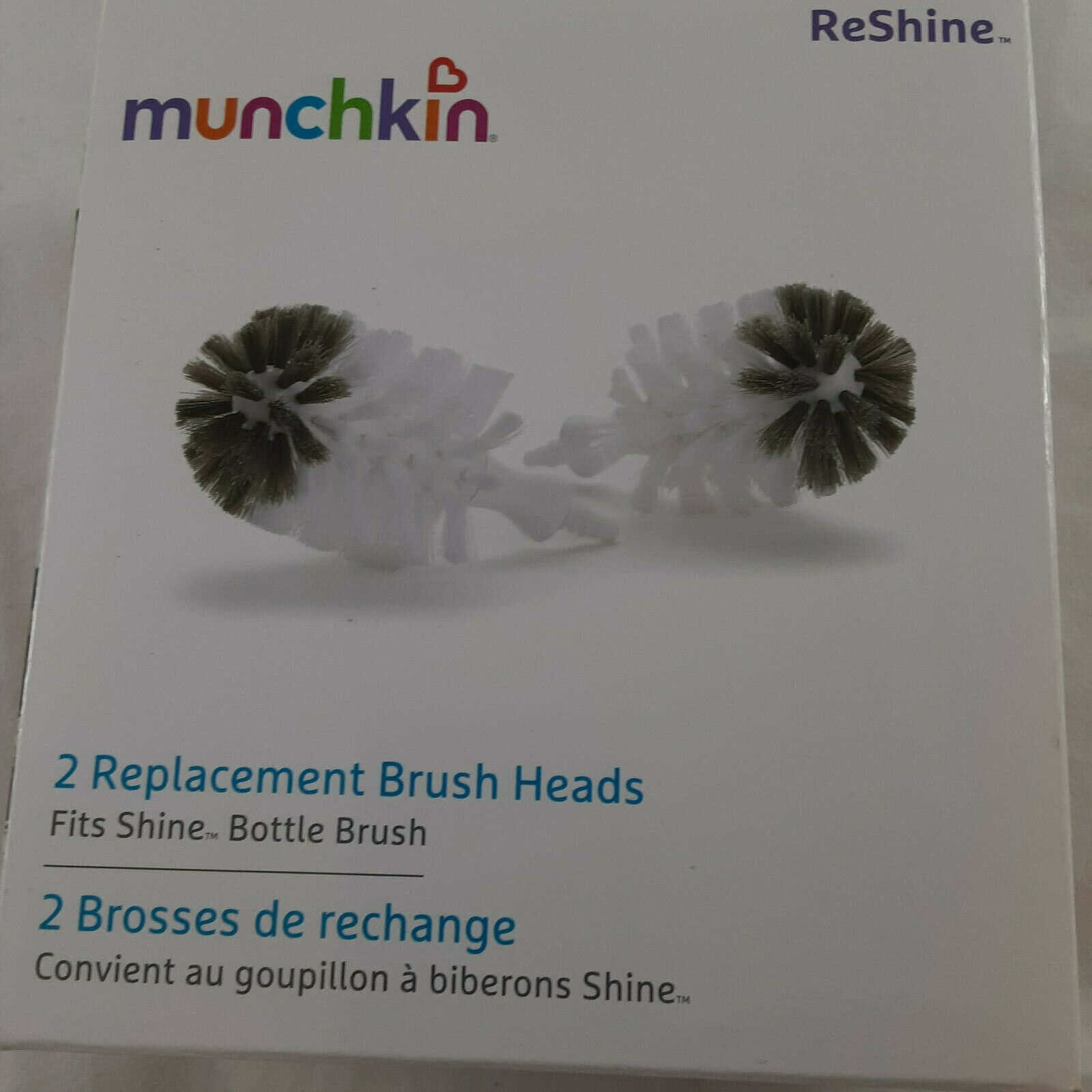 Primary image for Munchkin Fits Shine 2 Replacement Bottle Brush Heads Reshine New in box