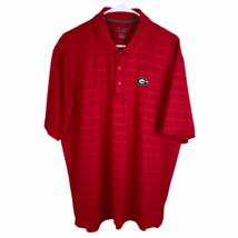 Georgia Bulldogs Champion Golf Polo Shirt Large Red Striped UGA Dawgs Dri-Fit - $24.65