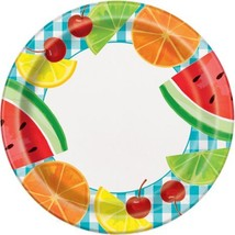 "Teal Gingham Picnic 8 Ct Paper 9"" Dinner Plates Fruit - $3.13"