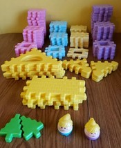 Large Lot of 80+ Vintage Little Tikes Wee Waffle Pastel Building Blocks 2 People - $58.68