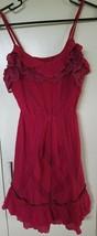 Annabelle Womens Jrs Red Maroon Spaghetti Strap Dress Ruffle Crochet Sz ... - $10.00