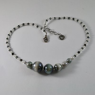 NECKLACE ANTICA MURRINA VENEZIA, MURANO GLASS SPHERES WHITE BLACK, LONG 45 CM