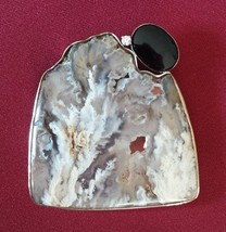 Handmade White 14 K Gold Brooch with Agate Geode, Onyx, and a Diamond   pin - $565.00