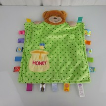 Taggies Peek A Boo Bear Lovey Baby Blanket Green Dots Honey Bee Security - $14.84
