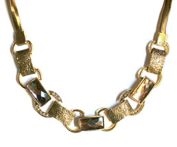 Short Crystal Faceted Hammered Gold Topaz Metal Retro Geometric Circle Necklace - $9.97