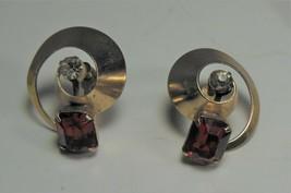 Vintage Art Deco Gold tone Red & Clear Rhinestone Screw Back Earrings - $10.88