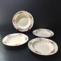 4 Rimmed Soup Bowl  Homer Laughlin Eggshell Georgian Gold Trim Flowers Scalloped - $26.11
