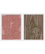 Sizzix 656644 Texture Fades Embossing Folders Tim Holtz 2PK - Bricked & ... - $9.07